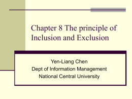 Chapter 8 The principle of Inclusion and Exclusion
