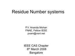 Residue Number systems - IEEE
