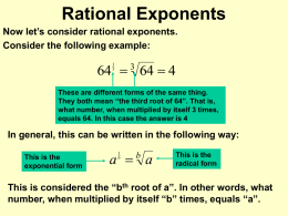Negative & Rational Exponents