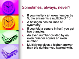Sometimes, always, never? - Fairhaven School Website