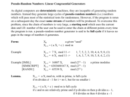 Pseudo-Random Numbers: Linear Congruential Generators As