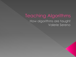 Teaching Algorithms - Hassall Grove Public School