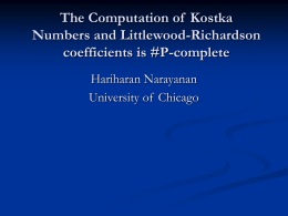 The Computation of Kostka Numbers and Littlewood