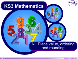N1 Place value, ordering and rounding