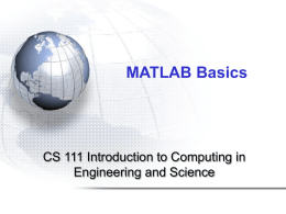 MATLAB BASICS - Bilkent University