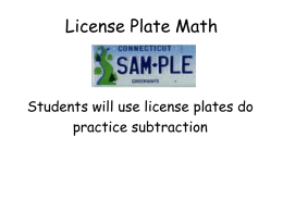 License Plate Math - Middletown High School