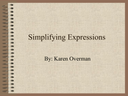 Simplifying Expressions - Tidewater Community College