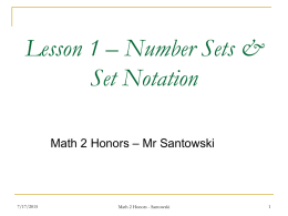 Lesson 1 – Number Sets & Set Notation