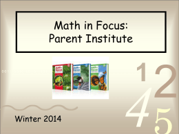 Math in Focus Parent Institute