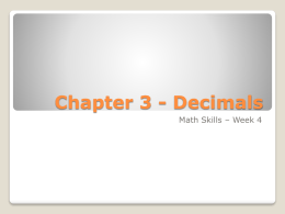 Chapter 3 - Decimals - ArbitraryY | Stochastics