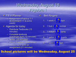 Wednesday, August 18 Pre