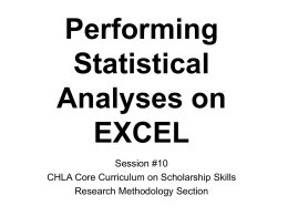 Performing Statistical Analysis on EXCEL