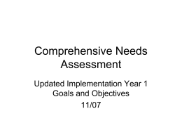 Comprehensive Needs Statements