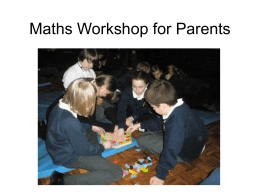 Maths Workshop for Parents - Welcome to Katherine Semar