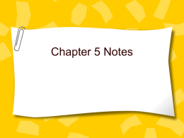 Chapter 5 Notes - Dripping Springs ISD