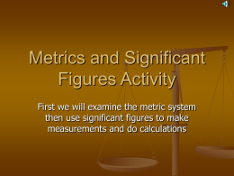Metrics and Significant Figures Activity