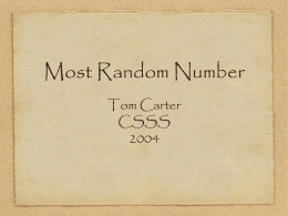 Most Random Number - California State University, Stanislaus