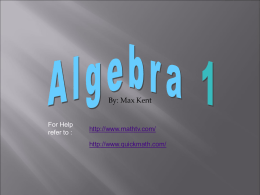 Algebra 1 Review - Marquette University High School