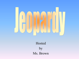 Jeopardy - King George County Schools