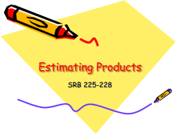 Estimating Products - Iroquois Central School District