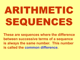 Arithmetic Sequences . ppt