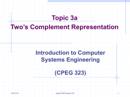 Lecture 6 Instruction Set Architectures