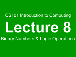 Binary Numbers & Logic Operations