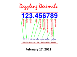 Dazzling Decimals - Ms. McGuirk's 6th Grade Science Class