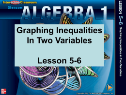 ppt 5-6 Graphing Inequalities in Two Variables