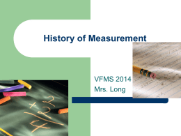 History of Measurement - Tredyffrin/Easttown School District