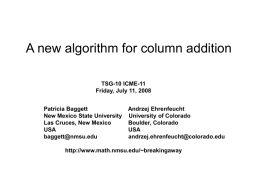A new algorithm for column addition