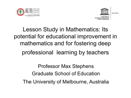 Lesson Study in Mathematics: Its potential for educational
