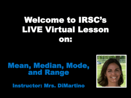 Welcome to IRSC's LIVE Virtual Lesson on: