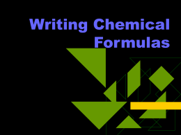 Writing Chemical Formulas - Derry Area School District