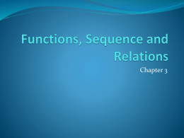 Functions, Sequence and Relations