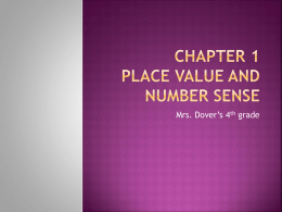 Chapter 1 Place Value and Number Sense