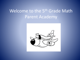 Welcome to the 5th Grade Math Parent Academy