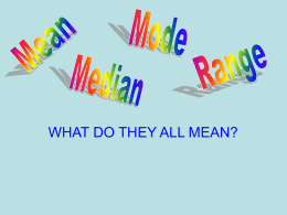 Mean, Median, Mode, and Range Review