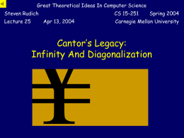 Infinity and Diagonalization - Carnegie Mellon School of Computer