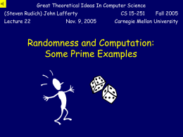 Randomness and Computation: A Prime Example