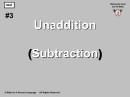 2. Unaddition (Subtraction) Using Tiles