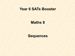 Maths Booster Lesson 8 Sequences