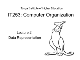 Lecture2-DataRepresentation - Tonga Institute of Higher Education