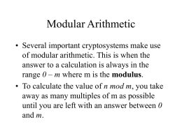 Slides Week 5 Modular Arithmetic