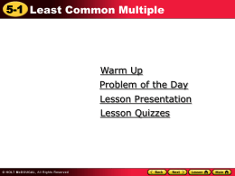 5.1 Least Common Multiple Power Point