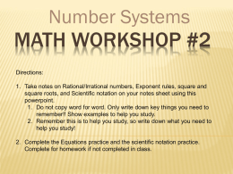 Math workshop 2 Numbers and Operations