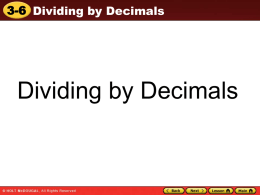 Dividing by decimal powers of 10