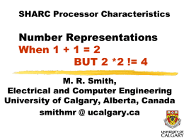 Some characteristics of SHARC Number Representation