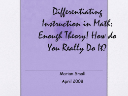 NCTM - Marian Small Differentiation