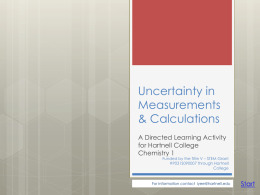 Uncertainty in Measurements & Significant Figures